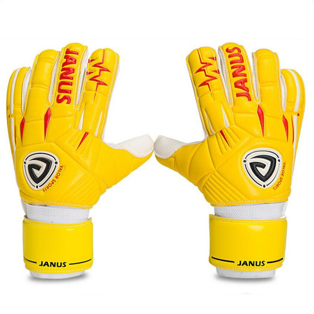 Janusプロサッカーゴールキーパーグローブfor Adult Kids Fingersave取り外し可能チューブ指保護ラテックスゴールキーパーグローブ B07CNQKBR9イエロー 7