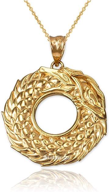 LA BLINGZ 14K White Gold Ouroboros Dragon Pendant Necklace