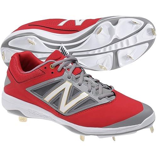 9de56727a73c2 New Balance Mens L4040v3 Low Metal Cleats Red/Grey D 9.5: Amazon.ca: Shoes  & Handbags