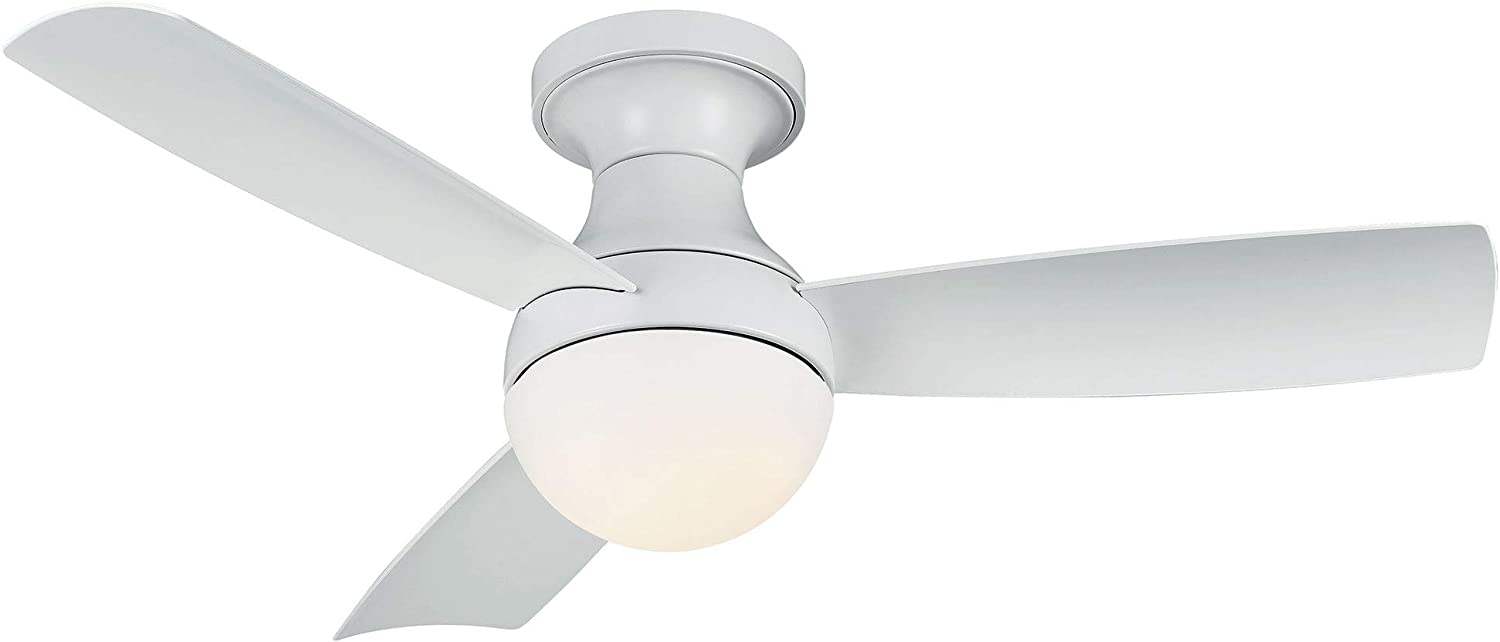 Orb Indoor/Outdoor 3-Blade Smart Compatible Ceiling Fan 44in Matte White with 3000K LED Light Kit and Remote Control with Wall Cradle. Works with iOS/Android, Alexa, and Google Assistant.