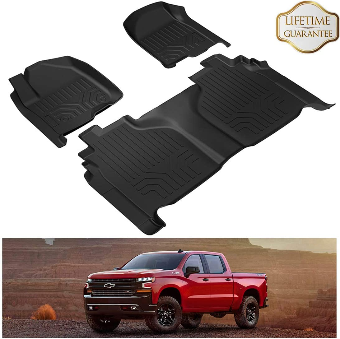 KIWI MASTER Floor Mats Compatible for 2019 2020 Chevrolet Silverado GMC Sierra 1500 Crew Cab with Carpeted Factory Storage Box All Weather Protector Mat Front Rear 2 Row Seat TPE Slush Liners Black