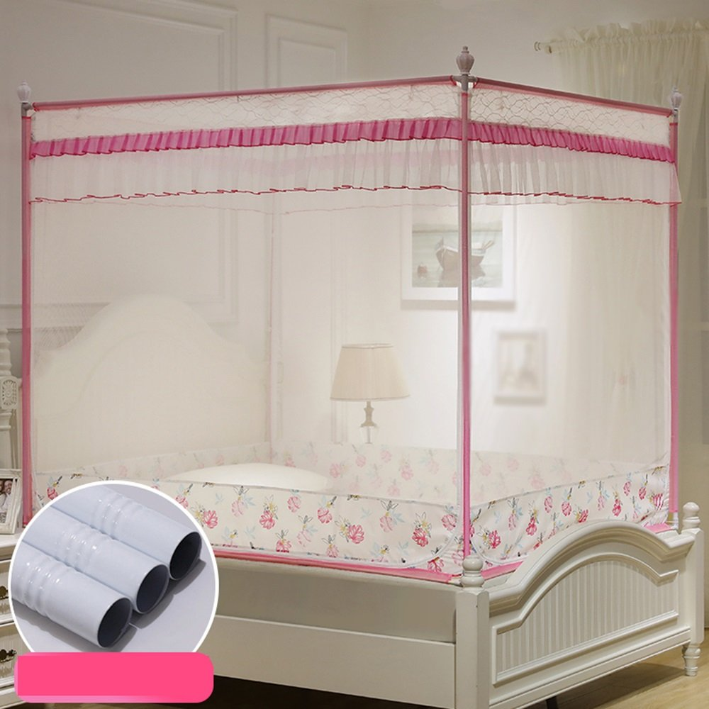 Simple bed zip mosquito bed double bed home with antiques mosquito breathable ( Color : Pink , Size : 1.2m (4ft) )