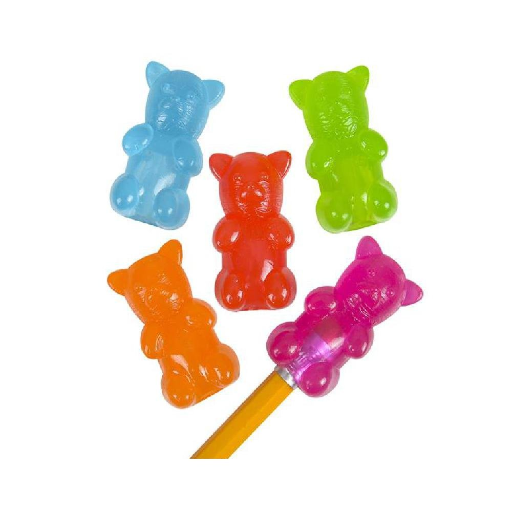 1.5'' Gummy Bear Pencil Toppers (With Sticky Notes) by Bargain World