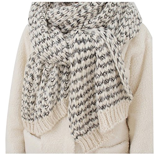Knit Long Cable Scarf (JET-BOND Chunky Cable Soft Mohair Knit Scarf FP02 Long Warm Fluffy Wrap for Women Men in Winter (White))
