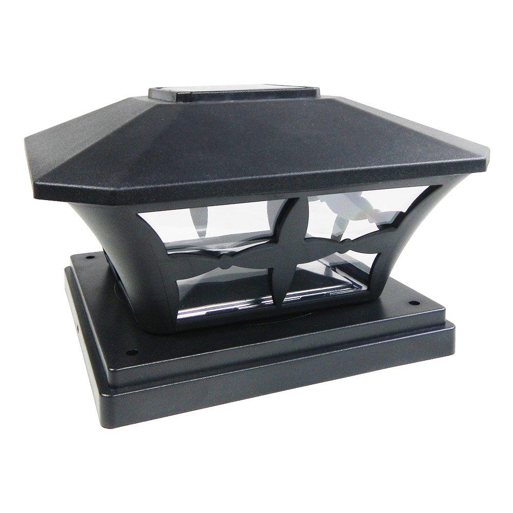 """2-Pk Solar Black Cap Light With White SMD LED for 6/""""X6/"""" Vinyl//PVC or Wood Post"""