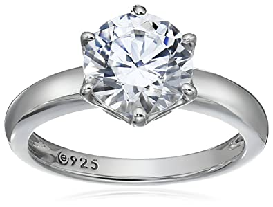 7fc7cf3609b0 Amazon.com  Platinum or Gold Plated Sterling Silver Round cut Solitaire  ring made with Swarovski Zirconia  Jewelry