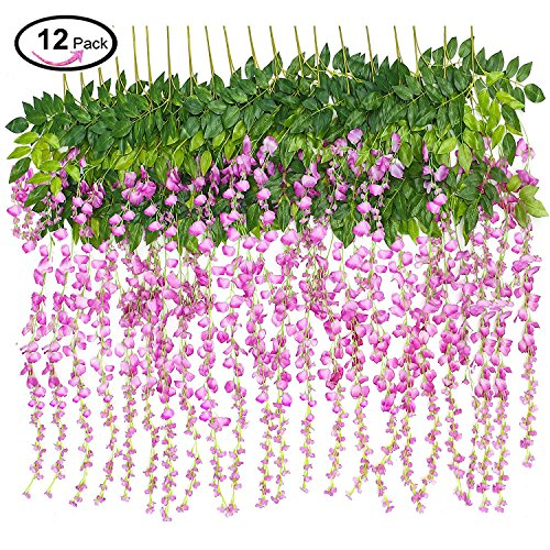 ESPOUS 12 Piece 3.6 Feet Artificial Flower Fake Wisteria Vine Rattan, Hanging Silk Flowers String for Home Party, Wedding Décor (Red Purple) - Natural Rattan Blades