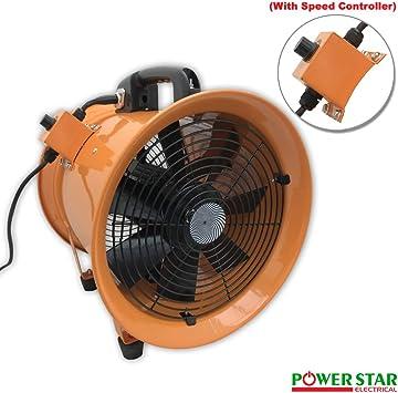 Ventilador portátil de ventilación para extractor de polvo de humo y ventilador de taller comercial de metal con ventilador de 30,48 cm con regulador de velocidad ...