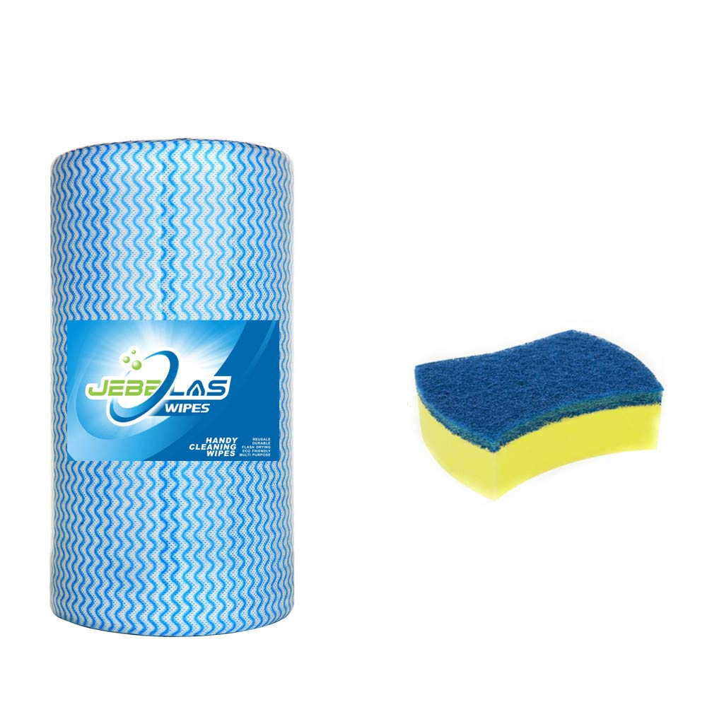 JEBBLAS Heavy Duty Cleaning Towels Handy Wipes Disposable Cleaning Cloths Dish Rags Multi Purpose Cleaning Rags Blue Towels Counter Wipe Cloths 90PCS/Roll,Blue