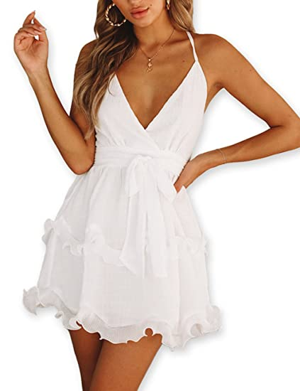 c80dc6193345 AOOKSMERY Women Summer V-Neck Spaghetti Straps Backless Ruffles Chiffon Mini  Dress at Amazon Women s Clothing store
