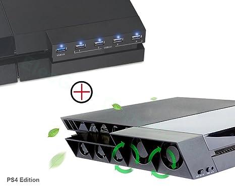 PS4 Ventilador de Refrigeración & Hub USB 3.0 5-Puertos - ElecGear Ventiladores de Control
