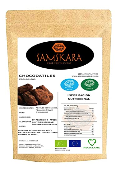 Choco Datiles BIO | Datiles Deshuesados Ecológica saboreada | Dulce saludable producida en Barcelona por Samskara (Cacao, 250gr)