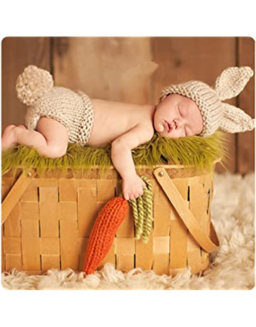 11352968c85 Newborn Baby Girl Boy Crochet Knit Costume Photography Prop Hats and Outfits  (Carrot Loving