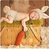 recién nacido Baby Girl/Boy Crochet Knit Costume Foto Fotografía Prop sombreros trajes (Zumo de zanahoria)