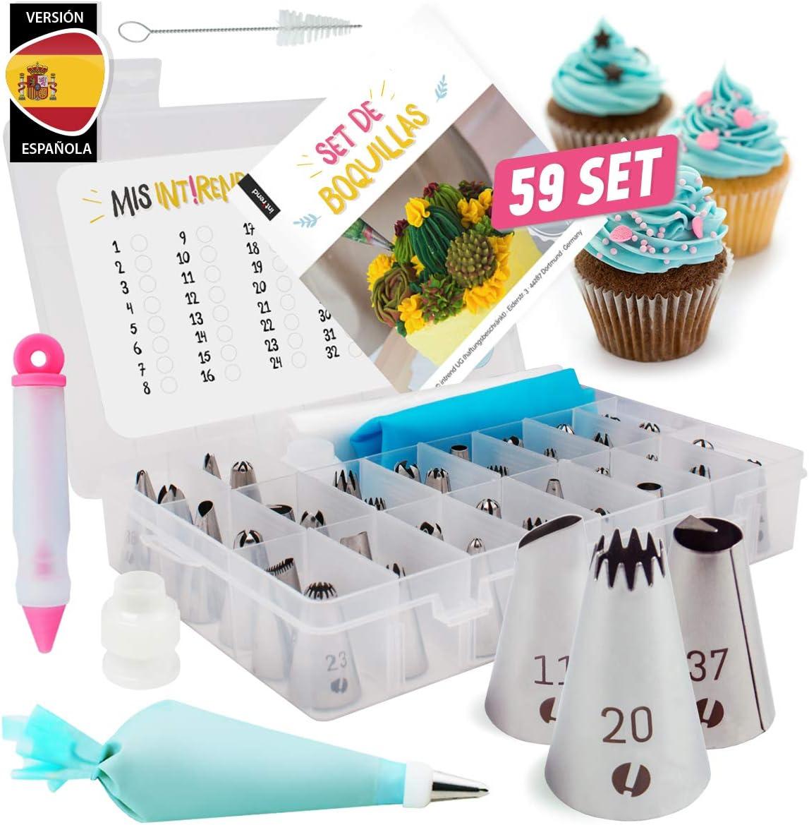 int!rend Maxi Set de boquillas - Conjunto de 59 Piezas | Decoración de Tartas y Pasteles, 42 boquillas y 2 adaptadores, 10 Mangas pasteleras Desechables, jeringa de Decoracion y más (Español): Amazon.es: Hogar