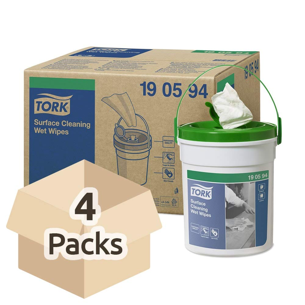 SCA Tork 190594 Wet Surface Wipes, White (Pack of 4)
