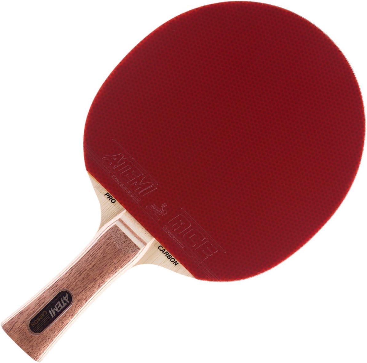 Naturel Atemi Raquette De Ping Pong Pro Carbon 3000 Raquette Approuvée par L'ITTF Fabriquée A Base De Bois Naturel Exotique Non Teint Raquette De Tennis De Table pour Joueurs De Tous Niveaux