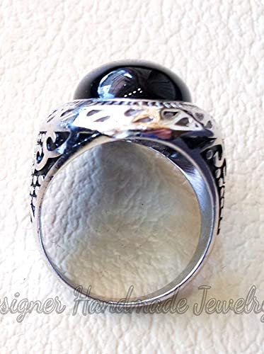 Natural Black Onyx Moon Star Eid Muslim Men/'s Ring 925 Sterling Silver Jewelry Handmade Designer Unique Weeding Easter Mothers Gifts Jewelry