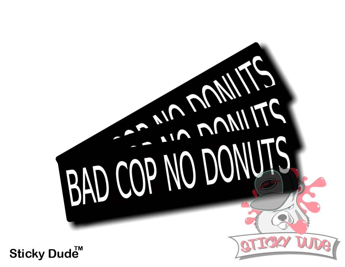Three 3 pcs bad cop no donuts funny hardhat helmet stickers decals ideal for motorcycles bicycles big bikes helmets mechanic chest