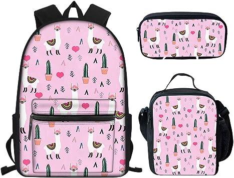 Showudesigns - Juego de 3 mochilas y bolsa de almuerzo con estuche para lápices para escuela primaria Rosa Alpaca Cactus One_Size: Amazon.es: Equipaje