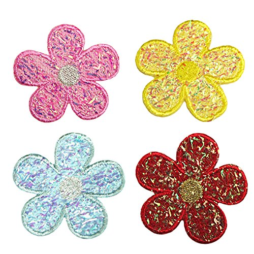 Altotux Iridescent Daisy Flower Self Adhesive Applique Sticker Patch Red Blue (Blue)
