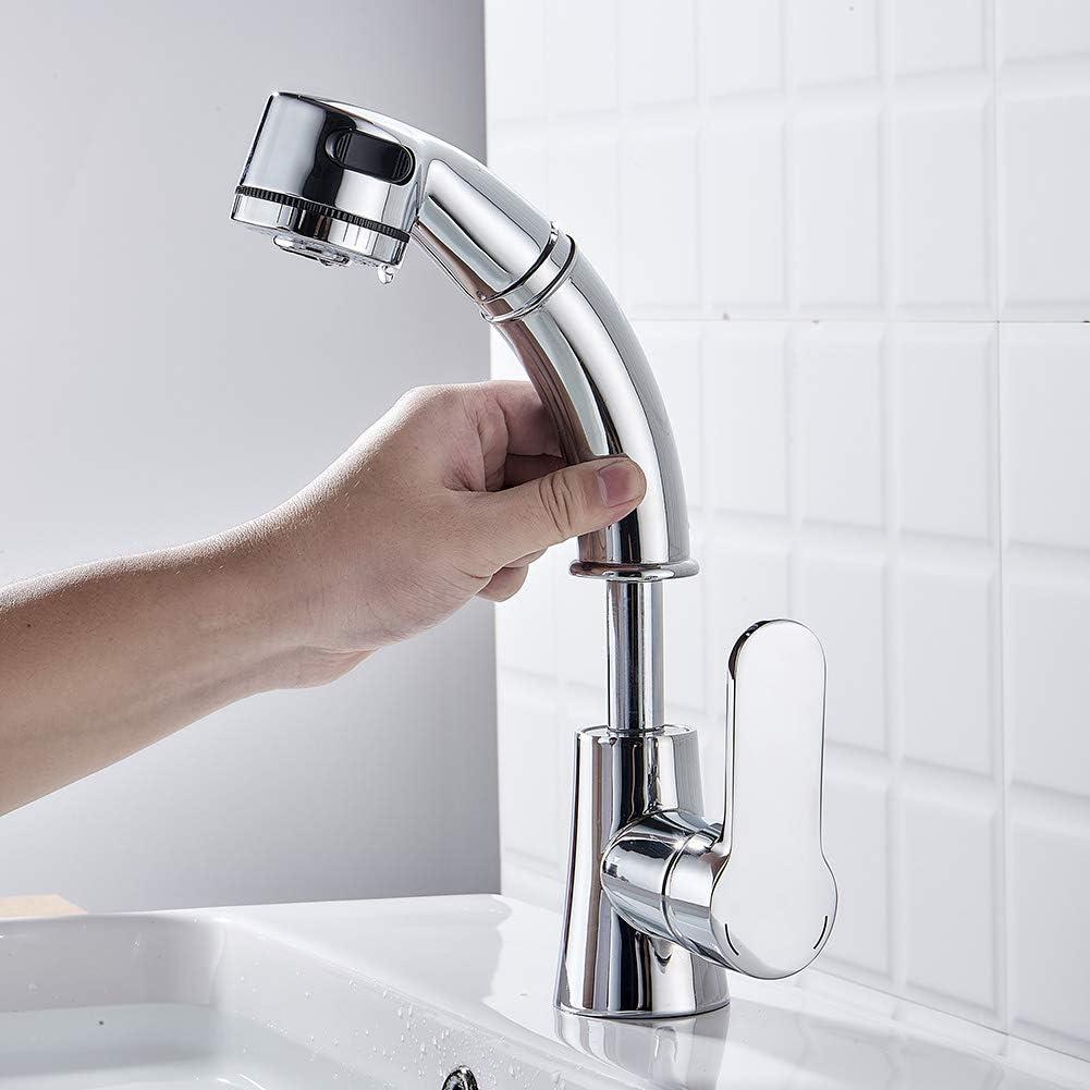 JIKU Bathroom Faucet Lead-Free Solid Brass Lavatory Basin Sink Faucet Chrome