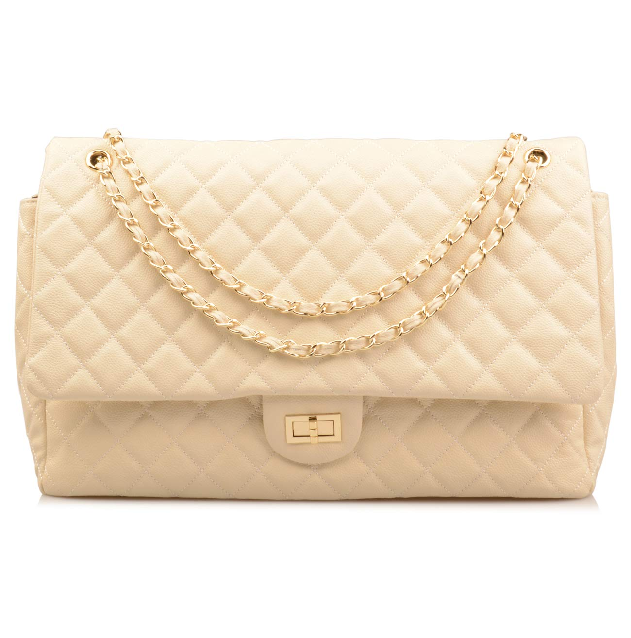 Ainifeel Women's Genuine Leather Oversize Quilted Flap Handbag Large Travelling Tote Bag Luggage Holdall (Oversize, Beige with gold hardware)
