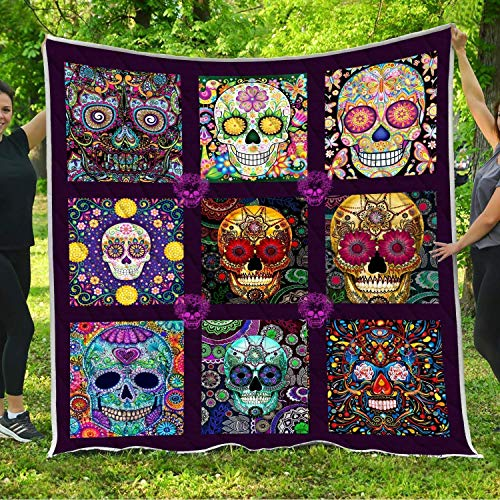 (Sugar Skull Arts Tattoo Quilt Pattern Blanket Comforters with Reversible Cotton King Queen Full Twin Size Quilted Catrina Calaveras Mexican Themed Gifts for Skull Lovers Mexico Day of the Dead)