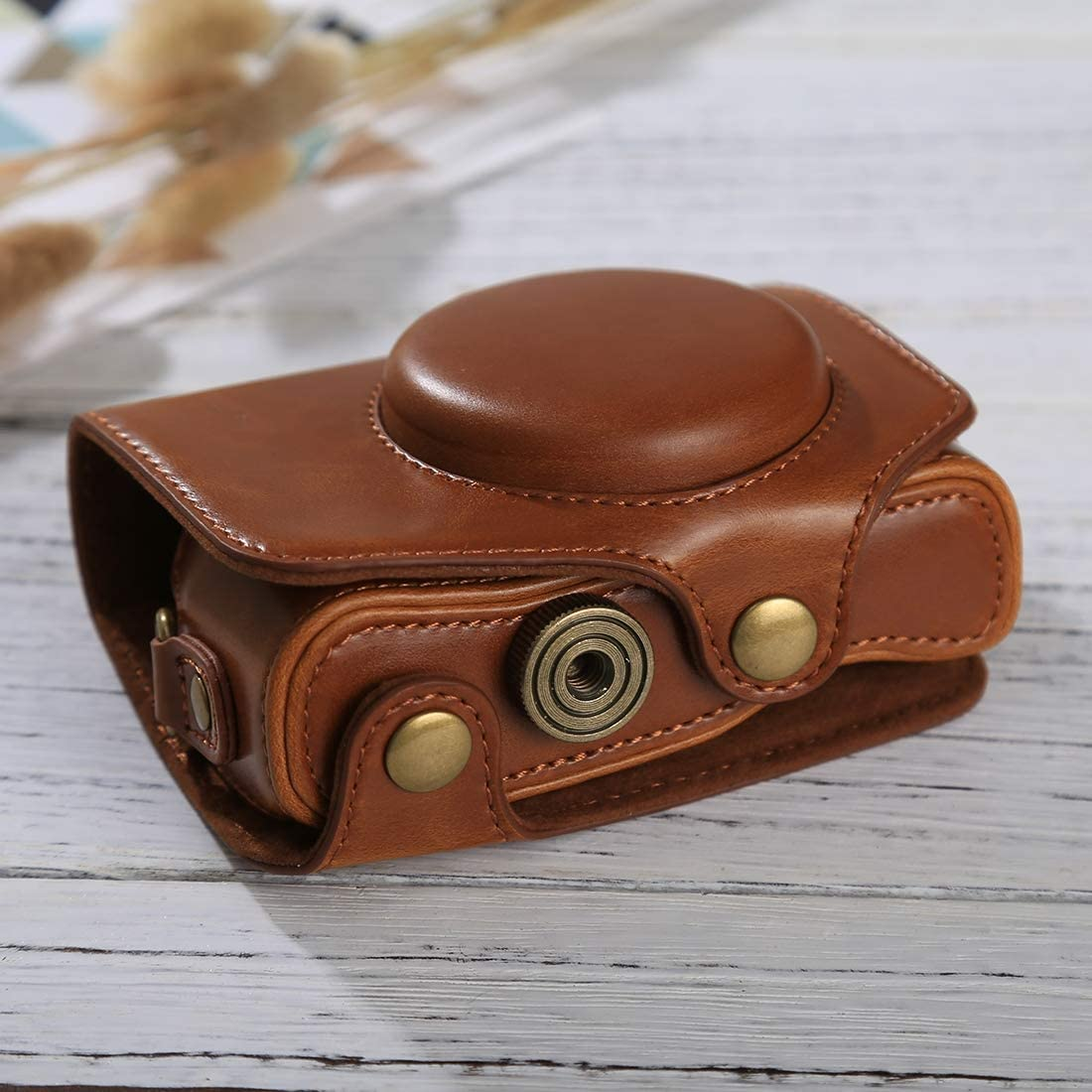 YANTAIANJANE Camera Accessories Full Body Camera PU Leather Case Bag with Strap for Canon PowerShot SX730 HS SX720 HS Black Color : Brown