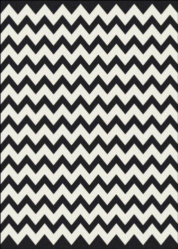 Milliken Black White Vibe Area Rug Techno Black 5 4 x7 8 Rectangle Nylon White