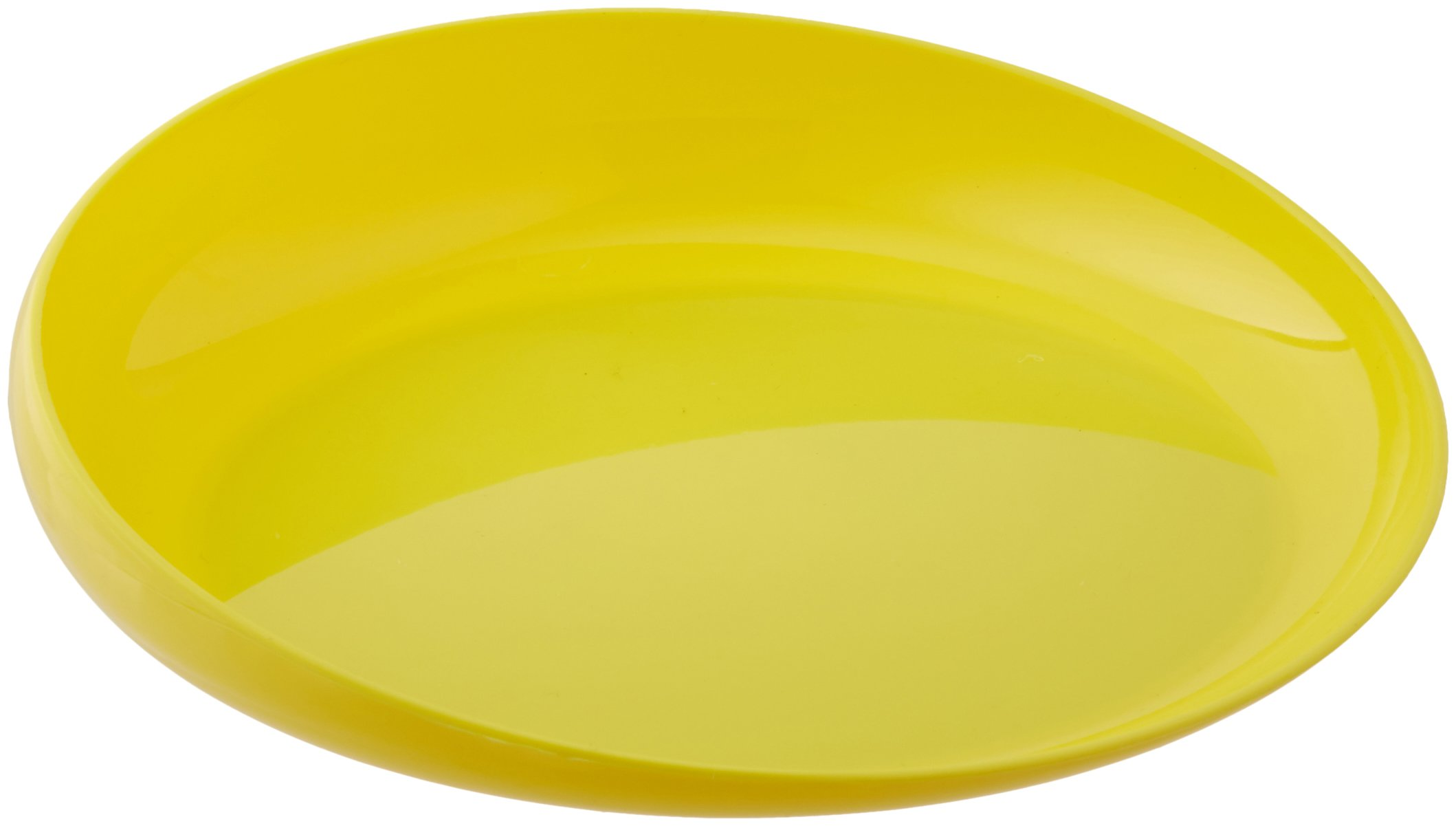 Sammons Preston Yellow Round Scoop Dish, Unbreakable 8'' Scooper Bowl for Elderly, Disabled, & Handicapped, Plate with Non Skid Rubber Padded Bottom for Independent Eating, Self-Feeding Aid