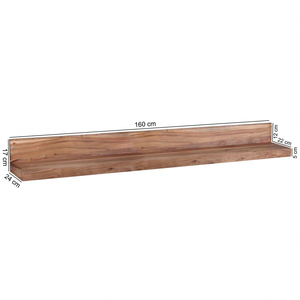 FineBuy Wandregal Massiv-Holz Akazie Holzregal 160 cm breit Landhaus-Stil H/änge-Regal Echt-Holz Wand-Board Natur-Produkt Wandkonsole dunkel-braun Brett unbehandelt Regale zum Aufh/ängen Unikat Ablage