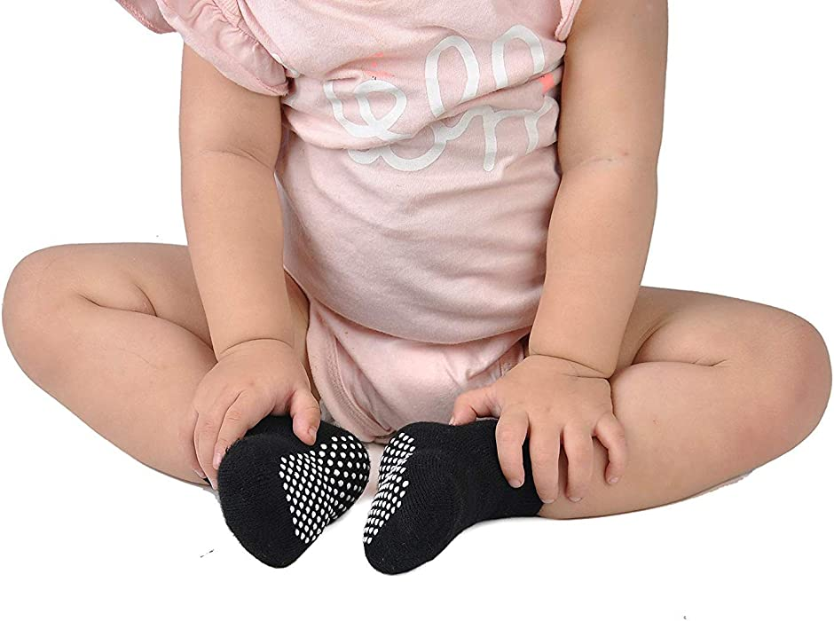 Grip Ankle Infants and Girls 6Pairs Cotton Toddlers Socks Anti Skid NovForth Baby Non Slip Socks
