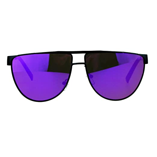 276ea232cb6 SA106 80s Disco Retro Flat Lens Mirrored Mirror Fashion Pilot Sunglasses  Black Purple