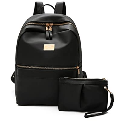Lily Blair Nylon Backpack [Women/Black/2pcs set ] Rucksack Casual Daypack Handbag