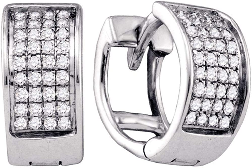 Jewel Tie Solid 925 Sterling Silver Diamond Unisex Mens Huggie Hoop Earrings 1//6 Cttw.