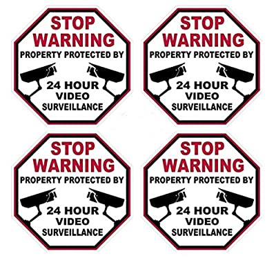 """4 Pcs Profound Unique Stop Warning Property Protected By 24 Hour Video Surveillance Sticker Signs 24Hr Home Security Fence Yard Doors Trespassing Reflective Side Door Window Premises Decor Size 3""""x3"""""""
