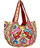 TribeAzure Elephant Tote Embroidered Mirror Shoulder Bag Top Handle Satchel Summer Beach Casual Fashion