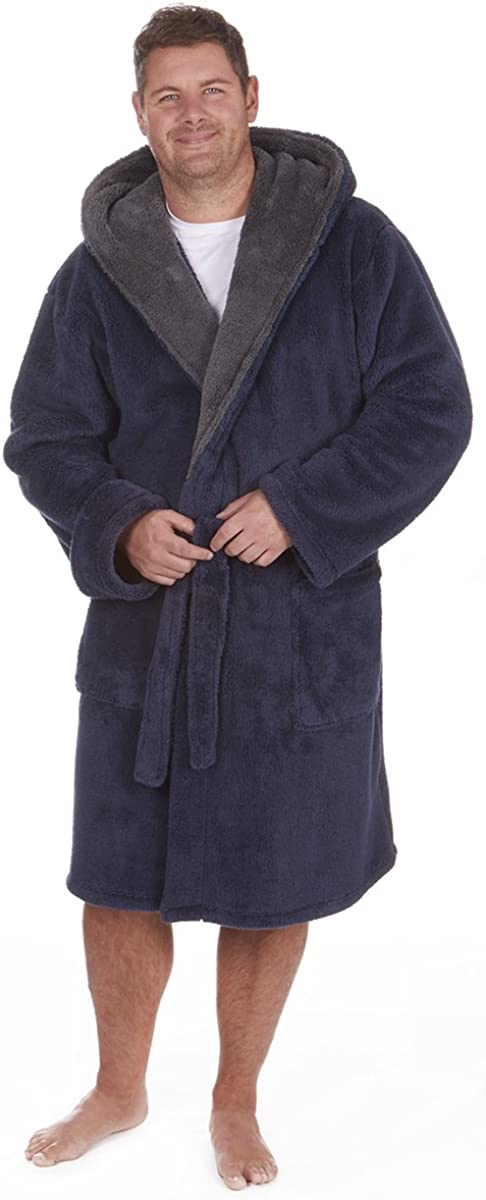 tallas 3xl-5xl con Peluche Albornoz con capucha Hombre Grande y alto Lujo Para Acurrucarse Bata tacto suave