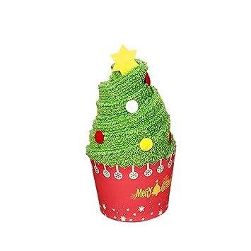 OULII Pastel de Navidad toalla de algodón modelado toalla de regalo Chic para la decoración de Navidad (árbol de Navidad): Amazon.es: Hogar