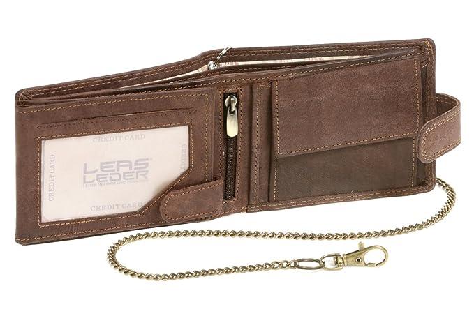 Biker Cartera con la cadena para señores Monedero para señoras con cierre externo Vintage-Style LEAS MCL, Piel auténtica, marrón - LEAS ...
