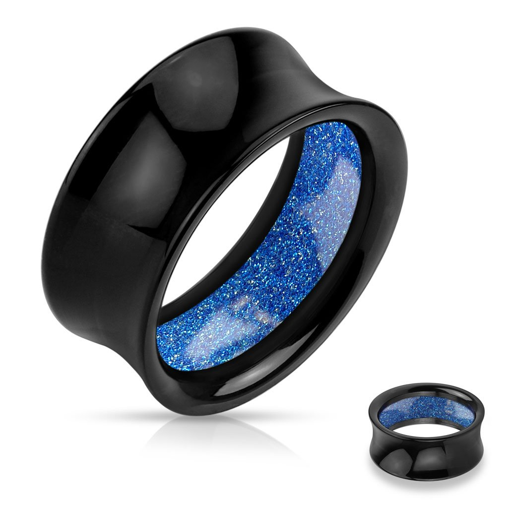 Pair of 1/2 Inch 12mm Blue Glitter Inside Inlayed Black Acrylic Saddle Fit Tunnel FE27 b149