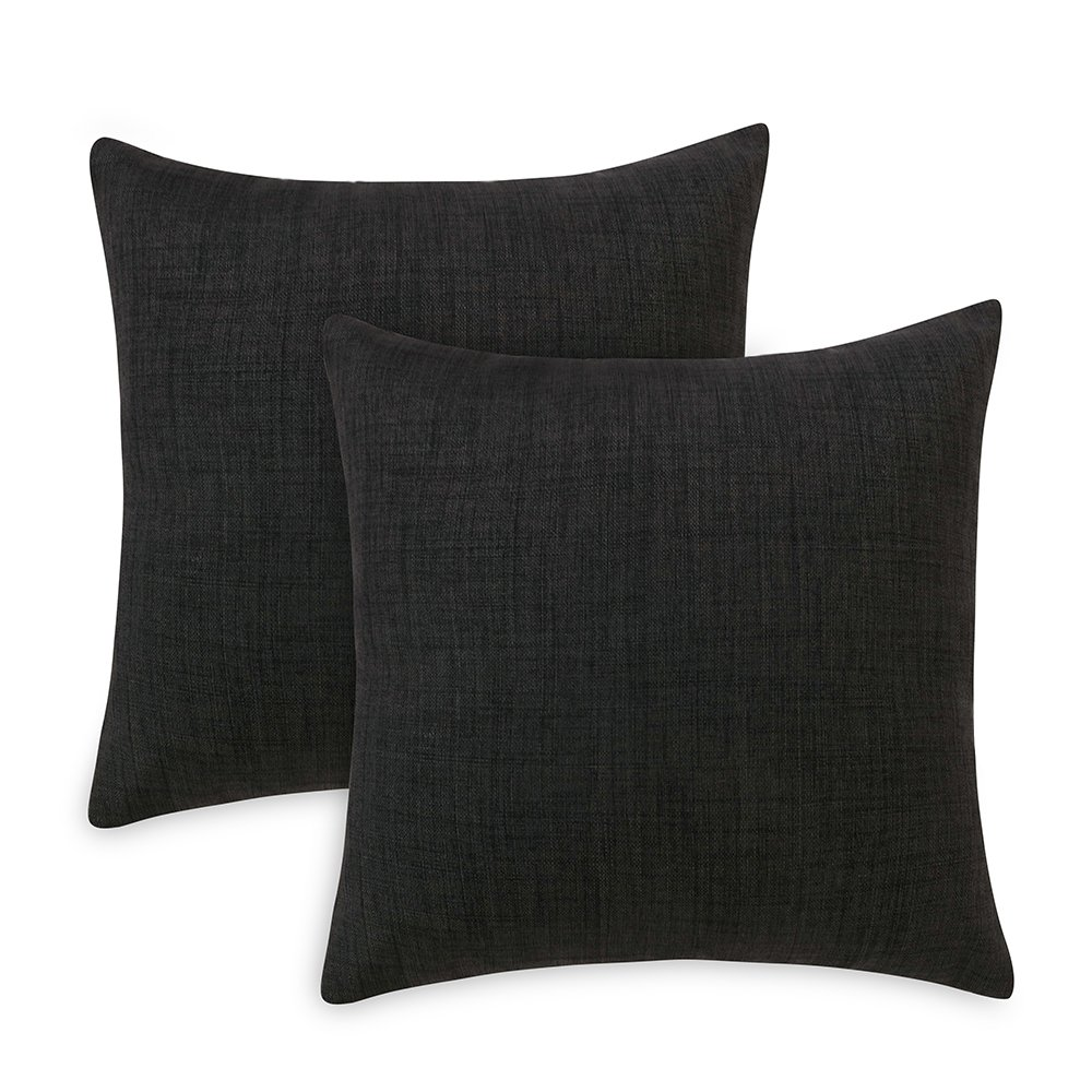 Loom & Mill Decorative Linen Pillow Cases Set of 2, Solid Throw Pillow Covers Square Couch Cushion Cover Pillow Shams with Zipper - (20 x 20 Inch, Black)