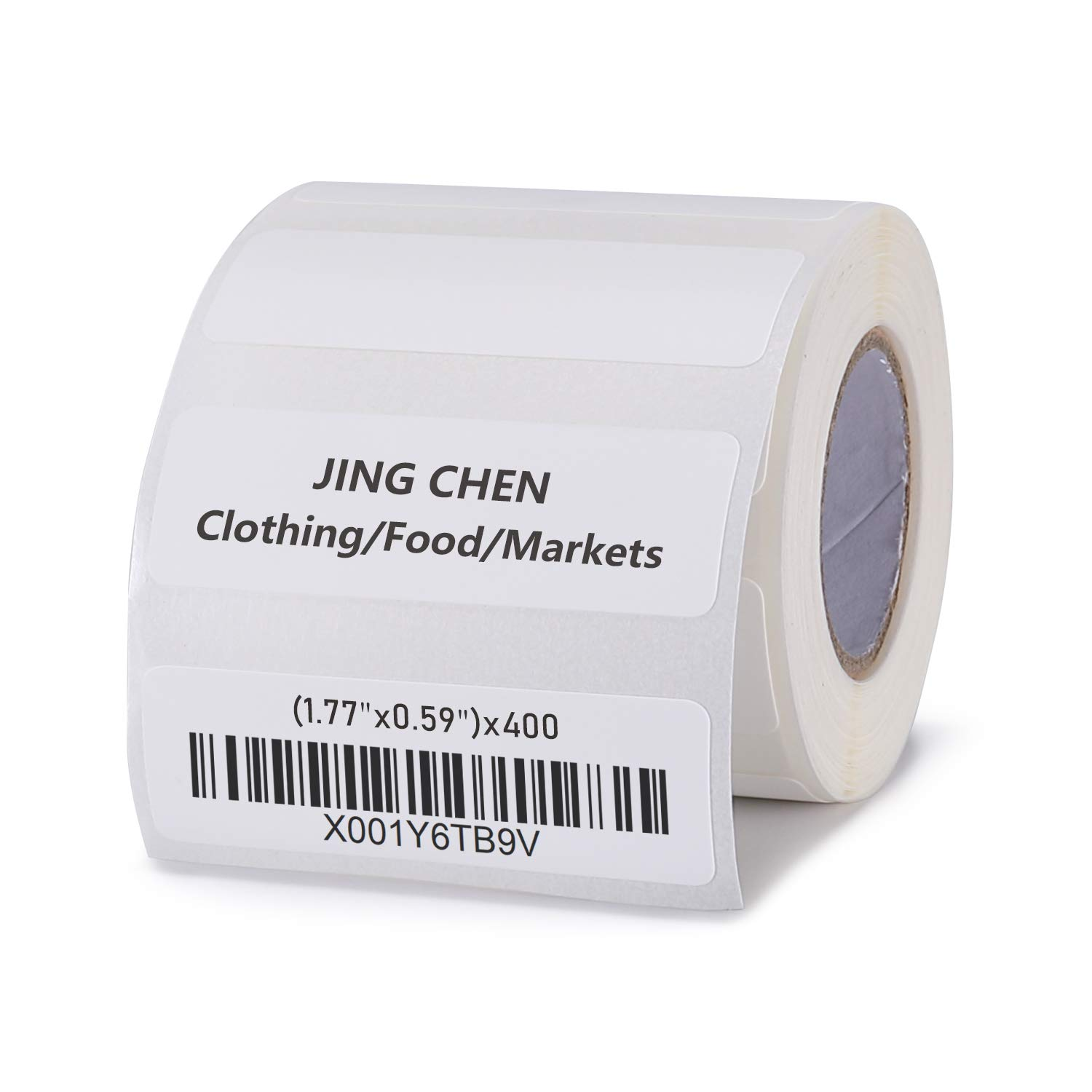 "JINGCHEN Thermal Label Paper, Print with B11/B3, Widely Used in Inventory/Food/Supermarkets/Clothing & Shoes & Hats, Label Printing, 1.77""x0.59"", 400 Labels/Roll"