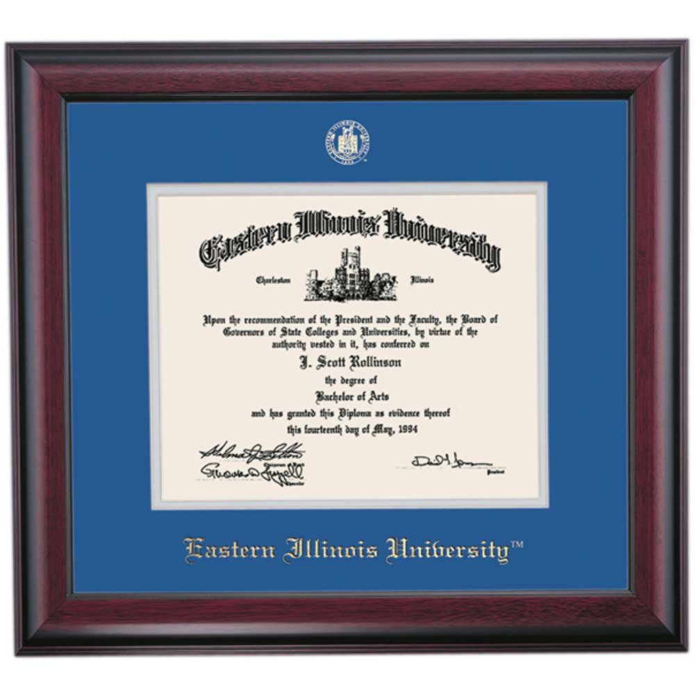 Campus Linens Eastern Illinois University Panthers Diploma Frame Blue Gray Matting Embossed Seal