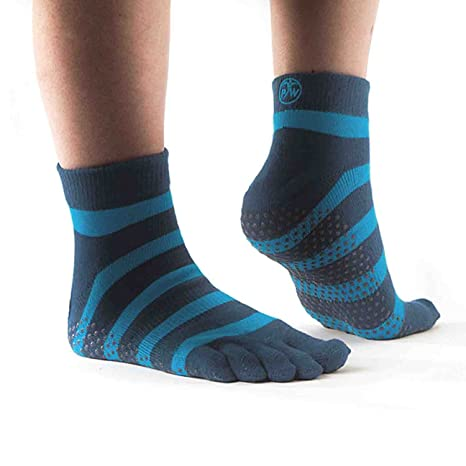 PhysioWorld - Calcetines Antideslizante para Yoga/Pilates/Fitness, Color Azul Rayado, M