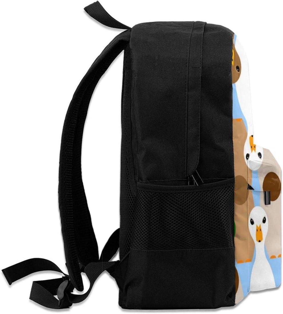 Cute Bowling Duck Casual Backpack Waterproof Laptop Backpack for Men Women Daypack