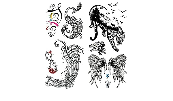 Oottati 2 Hojas 3D Tatuaje Temporal Tattoo Pavo Real, Leopardo ...