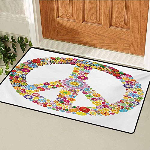 Groovy Universal Door mat Floral Peace Sign Summer Spring Blooms Love Happiness Themed Illustration Print Door mat Floor Decoration W23.6 x L35.4 Inch Multicolor