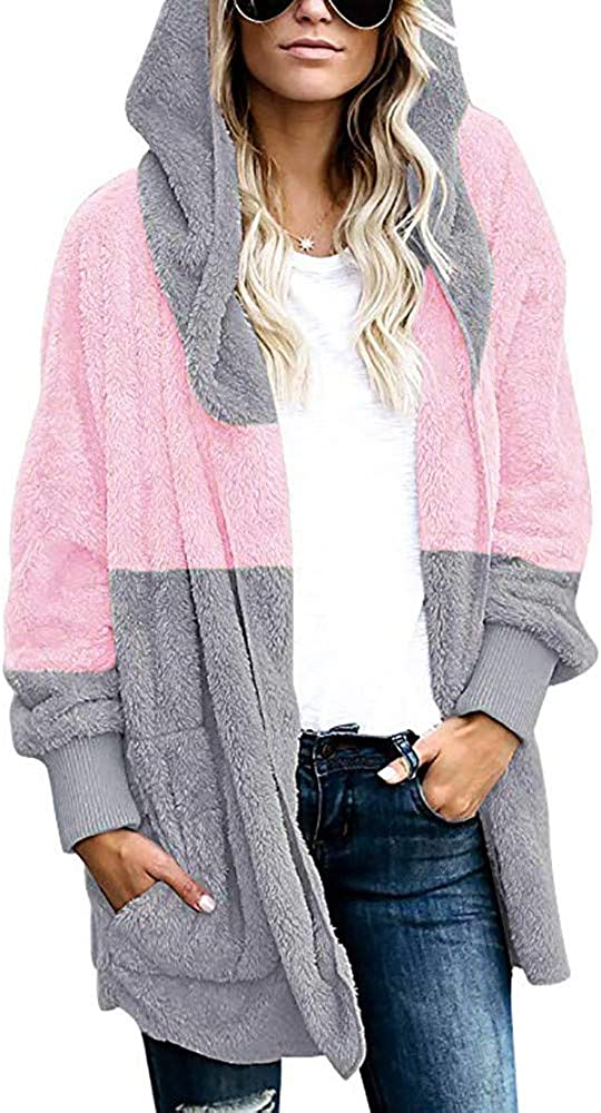 Cardigans Hooded Sweaters for Women with Pocket ,Plus Size Long Sleeve Casual Loose Outwear Tops Cardigan Coat for Winter
